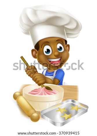 A young black boy kid in an apron and chef hat baking cakes - stock photo