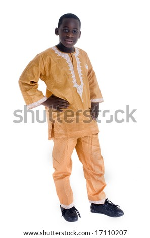 A young black boy wears his native clothes - stock photo