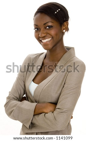 A young black smiling businesswoman on white background