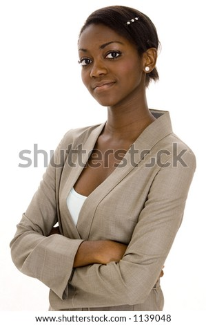 A young black woman in a business suit on white background