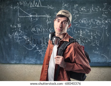 A young boy at school - stock photo