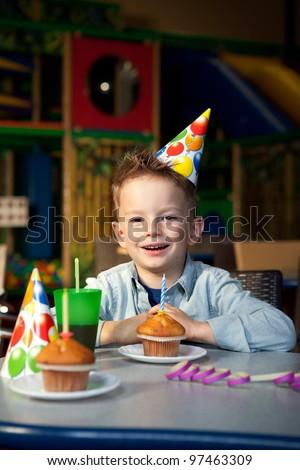 a young boy celebrating birthday - stock photo