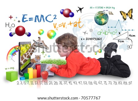 A young boy child is looking at a laptop computer with math, science and animals around him. He is on a white background. Use it for a school, study or learning concept. - stock photo