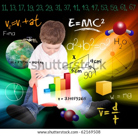 A young boy child is reading a book with math and science equations and formulas around him. He is sitting on the floor on a black background. Use it for a school, study or learning concept. - stock photo