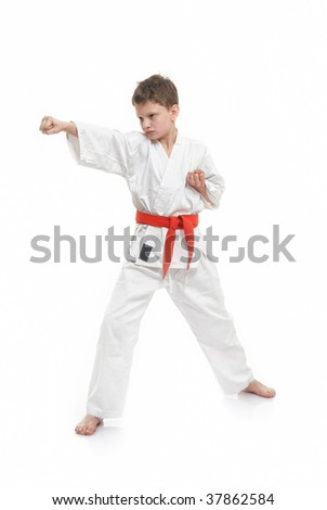 a young boy doing martial arts moves