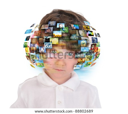 A young boy has different media images around his head on a white background. Use it for an education or television concept. - stock photo