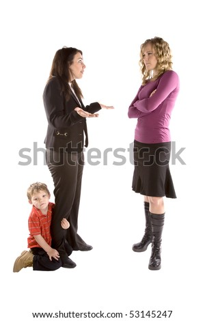 A young boy holding his moms leg and her boss is mad. - stock photo