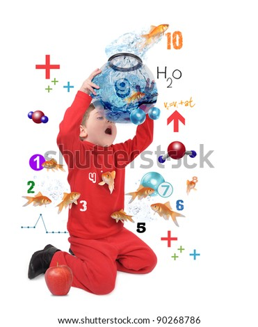 A young boy is counting jumping goldfish on a white isolated background. Use it for an education or science concept. - stock photo