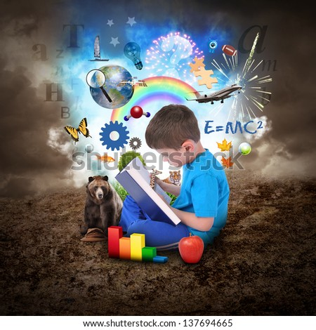 A young boy is reading a book with school icons such as math formulas, animals and nature objects around him for an education concept. - stock photo