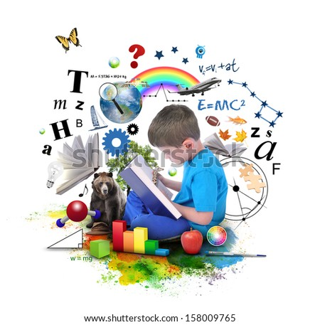 A young boy is reading a book with school icons such as math formulas, animals and nature objects around him for an education concept on white. - stock photo