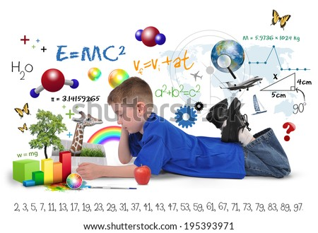 A young boy is reading a school book with math formulas, art icons and nature objects around the child for an education concept on a white background.  - stock photo