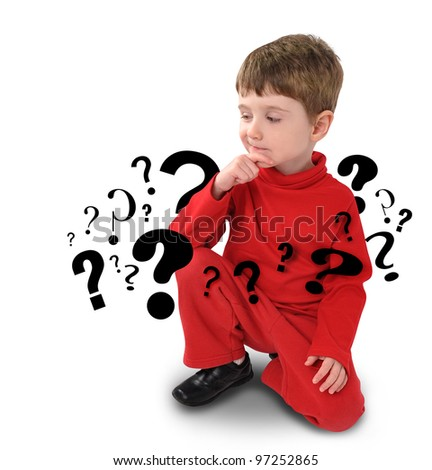 A young boy is sitting down on a white background thinking with question mark symbols going around his body. Use it for an educational concept.