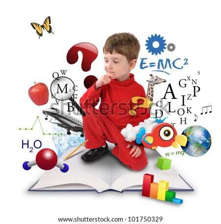 A young boy is sitting on a big with different science, math and physics icons around him on a white background. Use it for a school or learning concept. - stock photo