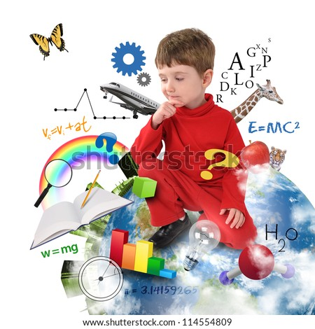 A young boy is sitting on Earth with different science, math and physics icons around him on a white background. Use it for a school or learning concept. - stock photo