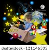 A young boy is using his imagine in a box imagining he is an astronaut in space and grabbing stars in the sky with math and science icons. Elements of this image furnished by NASA. - stock photo