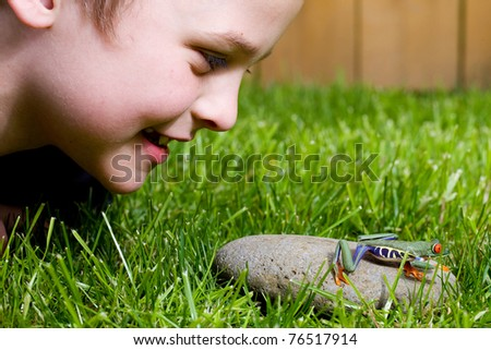 a young boy looking at a frog outside in the grass - stock photo