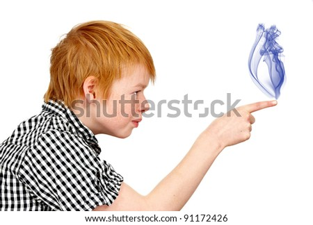 A young boy pointing his finger - icon photo - stock photo