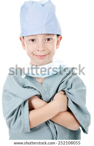 A Young boy wearing as surgery doctor - stock photo