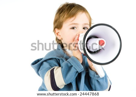 A young boy with a megaphone isolated on white.