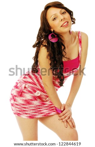 A young brunette in red and white - 147 - stock photo