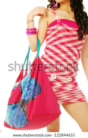 A young brunette in red and white - 161 - stock photo