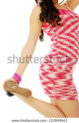 A young brunette in red and white - 151 - stock photo