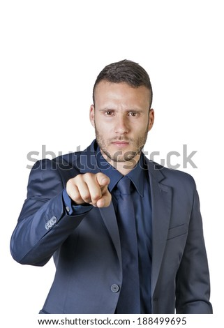 a young buisnessman pointing finger at you isolated on a white background