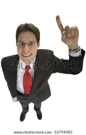 A young business man exclaiming he is number one - stock photo