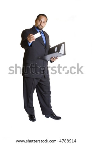 A young business man isolated on white background - stock photo