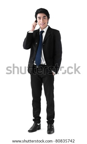 A young business man  on the phone - stock photo