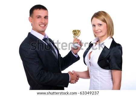 A young business man presents his gift to a colleague - stock photo