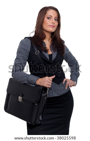 a young business woman in dress - stock photo