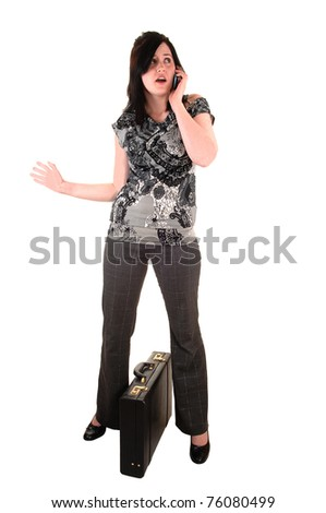 A young business woman with a briefcase and a cell phone in her hand, in slakes and blouse, for white background.