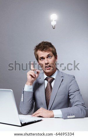 A young businessman had the idea - stock photo