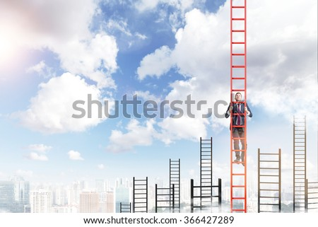 A young businessman in a suit climbing a red ladder, many other ladders behind, city view and blue sky at the background. Concept of career development. - stock photo