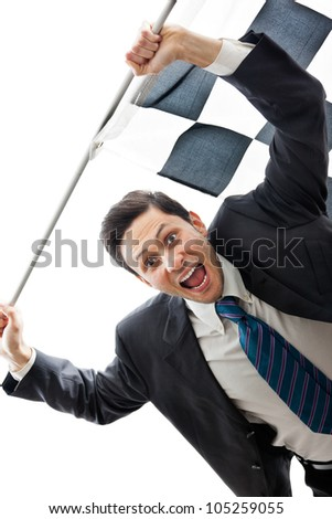 A Young Businessman isolated on a white background holding a checkered flag - stock photo