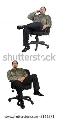 A young businessman relaxing in an office chair - isolated over white background - stock photo