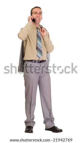 A young businessman talking on a cell phone and smiling, isolated against a white background - stock photo