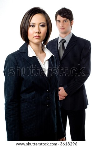 A young businessman with an attractive female colleague on white background - stock photo
