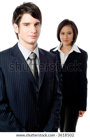 A young businessman with an attractive female colleague on white background