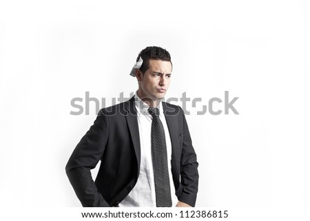 A young businessman with headphones