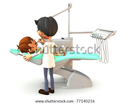 A young cartoon boy getting a dental exam by a dentist. White background.
