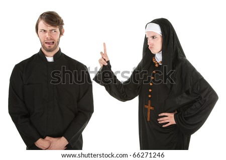 A young Catholic priest and nun bursting in laughter - stock photo