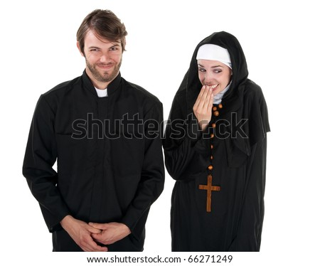 A young Catholic priest and nun on white background giggling - stock photo