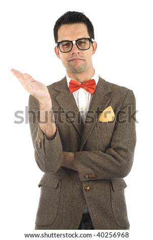 A young, caucasian nerd, isolated on a white background. - stock photo