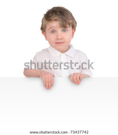 A young child is holding a blank, white message sign on an isolated, white background. Add your text. - stock photo