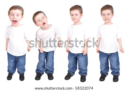 A young child on a white isolated background with various personality traits from happy, sad, curious and mad. The boy is wearing jeans. - stock photo