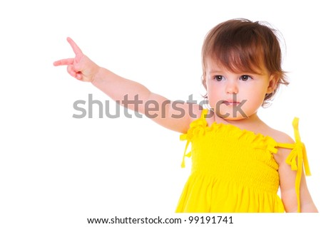 a young child shows a gesture to the side. isolated on white - stock photo