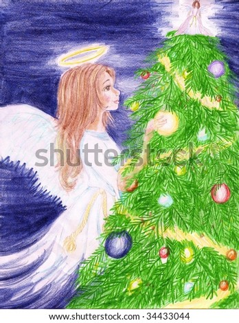 A young Christmas Angel decorating a Christmas tree with ornaments - stock photo