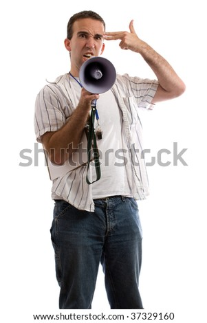 A young coach is pretending to shoot himself in the head because he is frustrated at coaching, isolated against a white background - stock photo